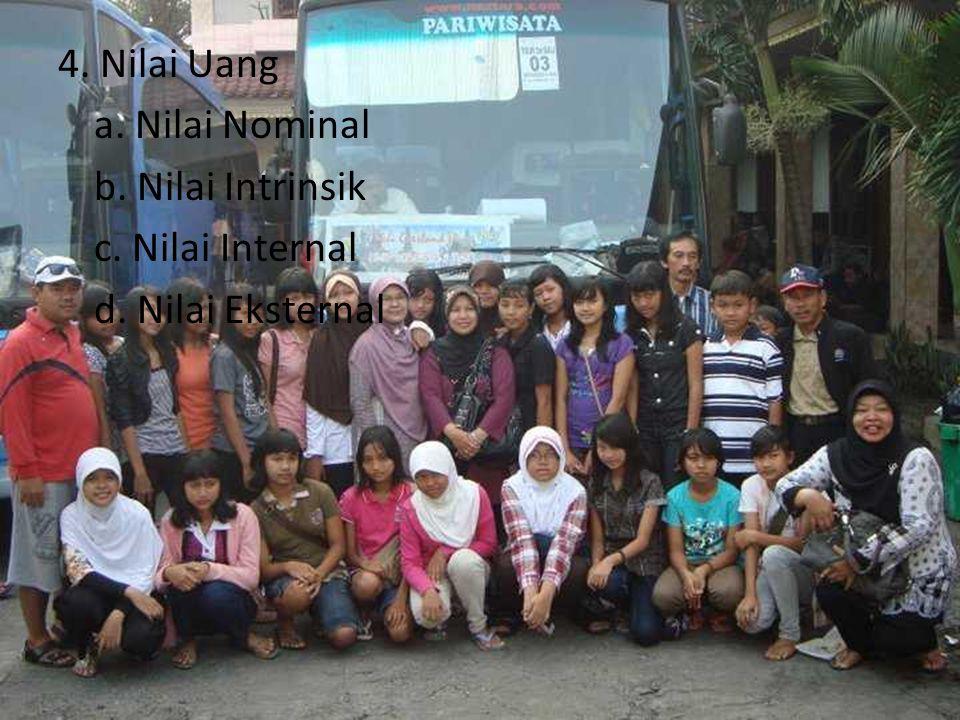 4. Nilai Uang a. Nilai Nominal b. Nilai Intrinsik c. Nilai Internal d. Nilai Eksternal