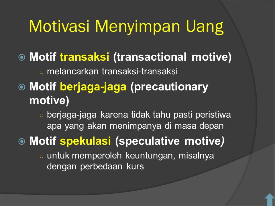 Motivasi Menyimpan Uang  Motif transaksi (transactional motive) ○ melancarkan transaksi-transaksi  Motif berjaga-jaga (precautionary motive) ○ berja