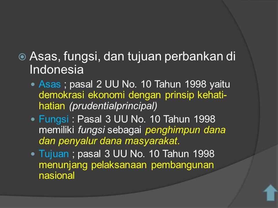  Asas, fungsi, dan tujuan perbankan di Indonesia Asas ; pasal 2 UU No. 10 Tahun 1998 yaitu demokrasi ekonomi dengan prinsip kehati- hatian (prudentia