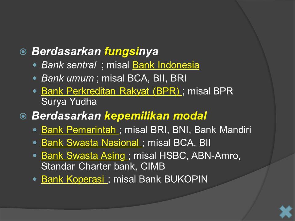  Berdasarkan fungsinya Bank sentral ; misal Bank IndonesiaBank Indonesia Bank umum ; misal BCA, BII, BRI Bank Perkreditan Rakyat (BPR) ; misal BPR Su