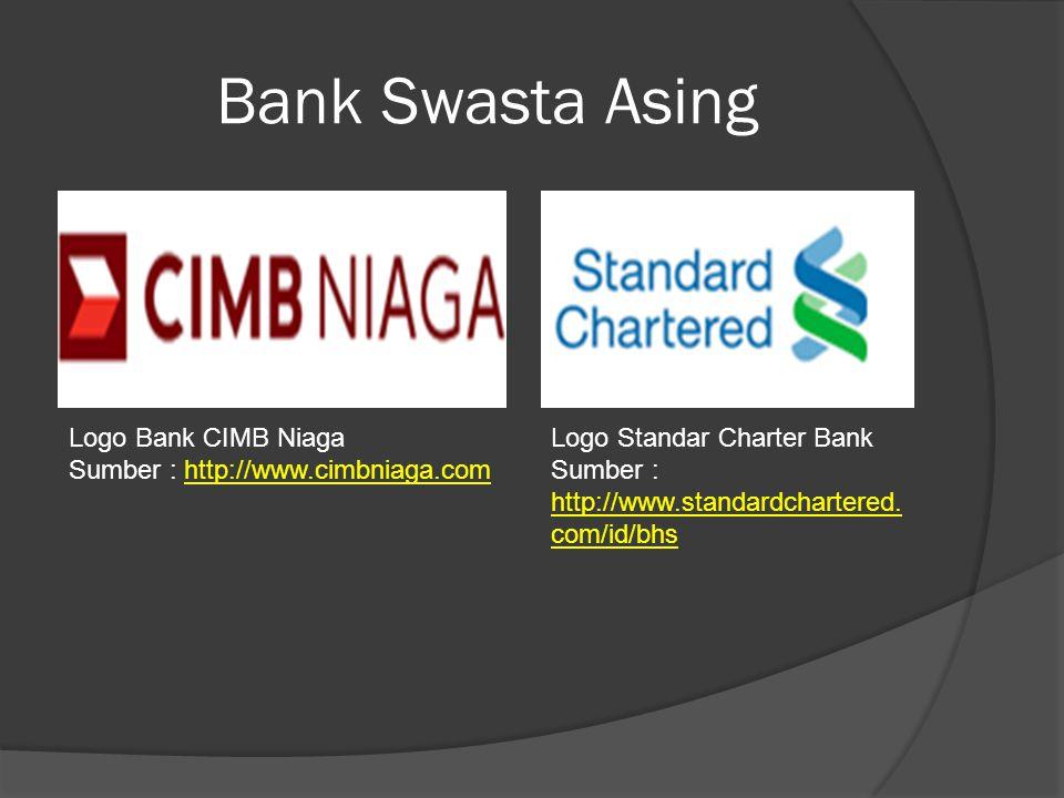 Bank Swasta Asing Logo Bank CIMB Niaga Sumber : http://www.cimbniaga.comhttp://www.cimbniaga.com Logo Standar Charter Bank Sumber : http://www.standar