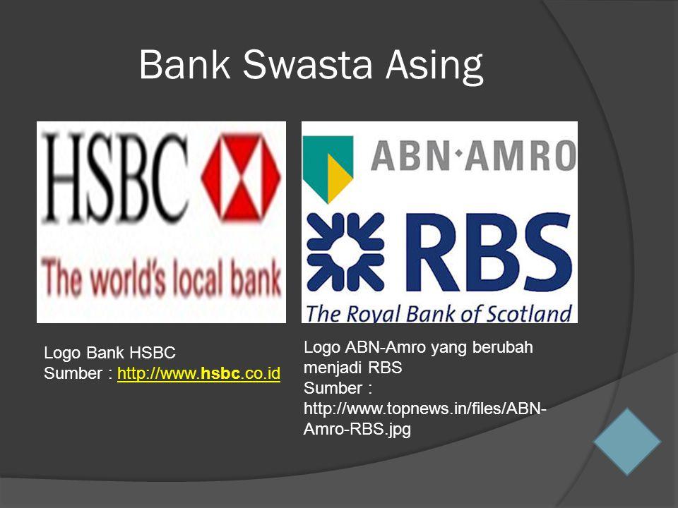 Bank Swasta Asing Logo Bank HSBC Sumber : http://www.hsbc.co.idhttp://www.hsbc.co.id Logo ABN-Amro yang berubah menjadi RBS Sumber : http://www.topnews.in/files/ABN- Amro-RBS.jpg