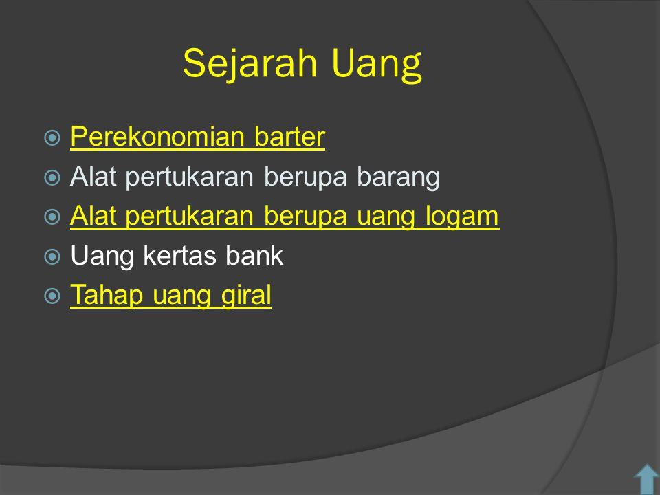 Sejarah Uang  Perekonomian barter Perekonomian barter  Alat pertukaran berupa barang  Alat pertukaran berupa uang logam Alat pertukaran berupa uang logam  Uang kertas bank  Tahap uang giral Tahap uang giral