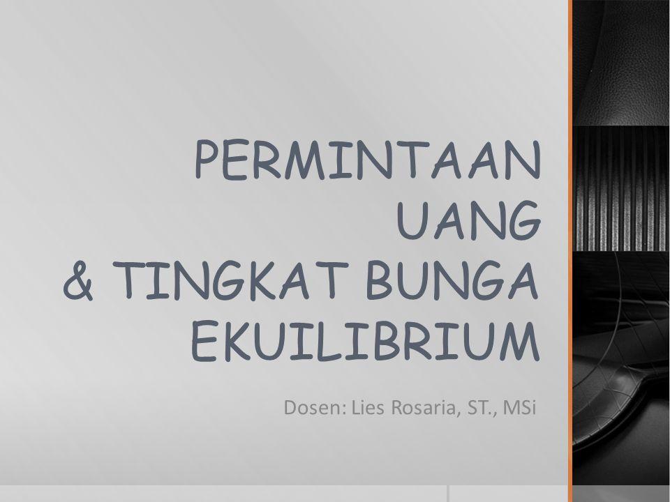 PERMINTAAN UANG & TINGKAT BUNGA EKUILIBRIUM Dosen: Lies Rosaria, ST., MSi