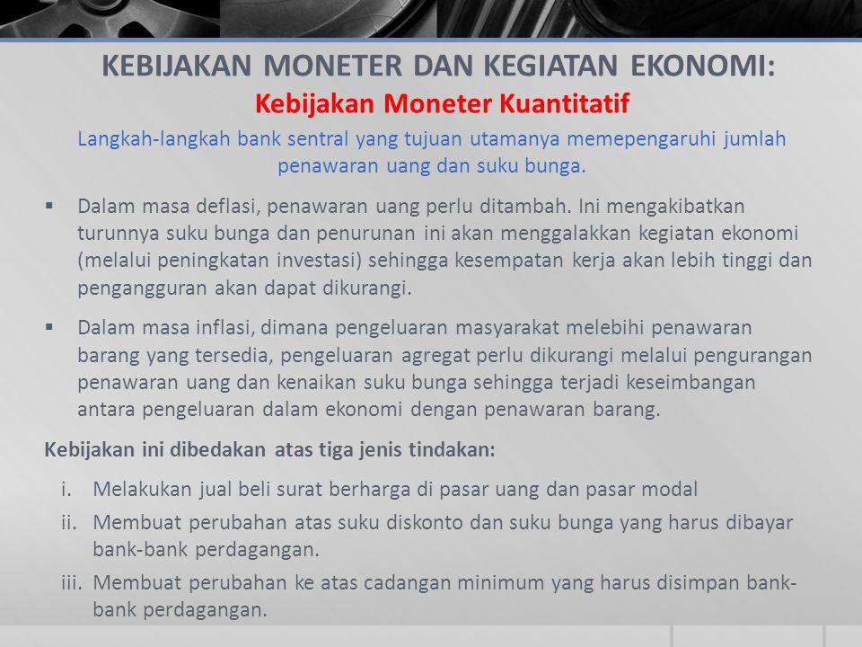 KEBIJAKAN MONETER DAN KEGIATAN EKONOMI: Kebijakan Moneter Kuantitatif Langkah-langkah bank sentral yang tujuan utamanya memepengaruhi jumlah penawaran