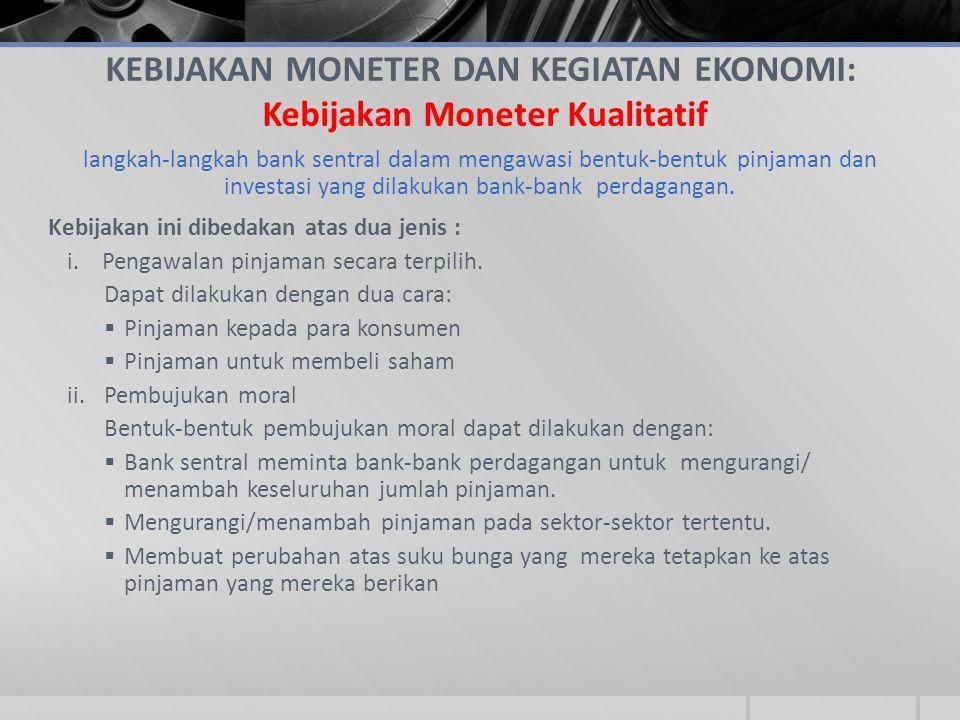 KEBIJAKAN MONETER DAN KEGIATAN EKONOMI: Kebijakan Moneter Kualitatif langkah-langkah bank sentral dalam mengawasi bentuk-bentuk pinjaman dan investasi