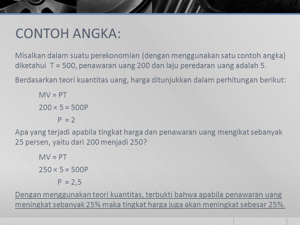 CONTOH ANGKA: Misalkan dalam suatu perekonomian (dengan menggunakan satu contoh angka) diketahui T = 500, penawaran uang 200 dan laju peredaran uang a