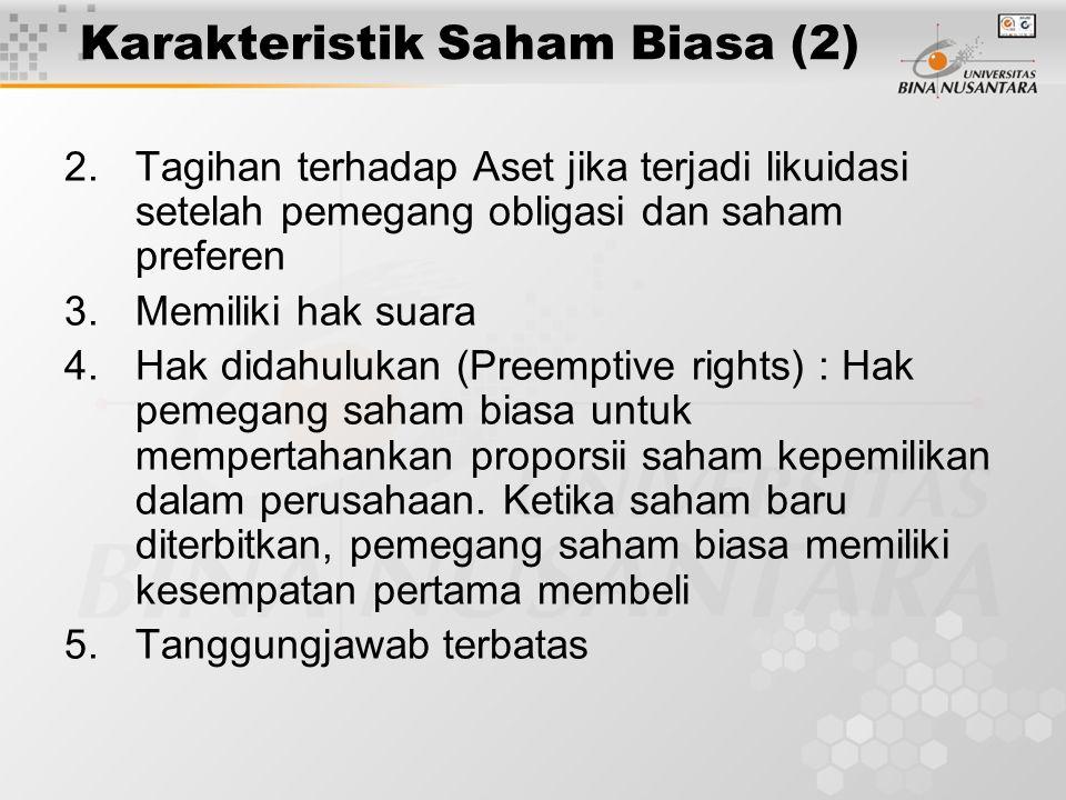 Karakteristik Saham Biasa (2) 2.Tagihan terhadap Aset jika terjadi likuidasi setelah pemegang obligasi dan saham preferen 3.Memiliki hak suara 4.Hak d