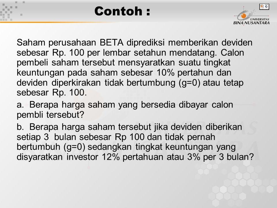 Contoh : Saham perusahaan BETA diprediksi memberikan deviden sebesar Rp. 100 per lembar setahun mendatang. Calon pembeli saham tersebut mensyaratkan s