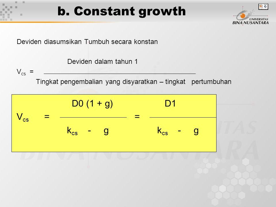 b. Constant growth Deviden diasumsikan Tumbuh secara konstan Deviden dalam tahun 1 V cs = Tingkat pengembalian yang disyaratkan – tingkat pertumbuhan