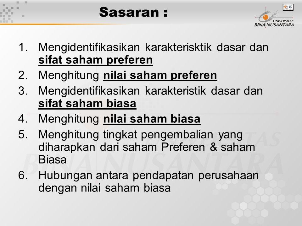 Sasaran : 1.Mengidentifikasikan karakterisktik dasar dan sifat saham preferen 2.Menghitung nilai saham preferen 3.Mengidentifikasikan karakteristik da