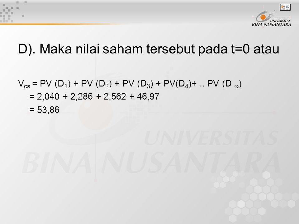 D). Maka nilai saham tersebut pada t=0 atau V cs = PV (D 1 ) + PV (D 2 ) + PV (D 3 ) + PV(D 4 )+.. PV (D  ) = 2,040 + 2,286 + 2,562 + 46,97 = 53,86
