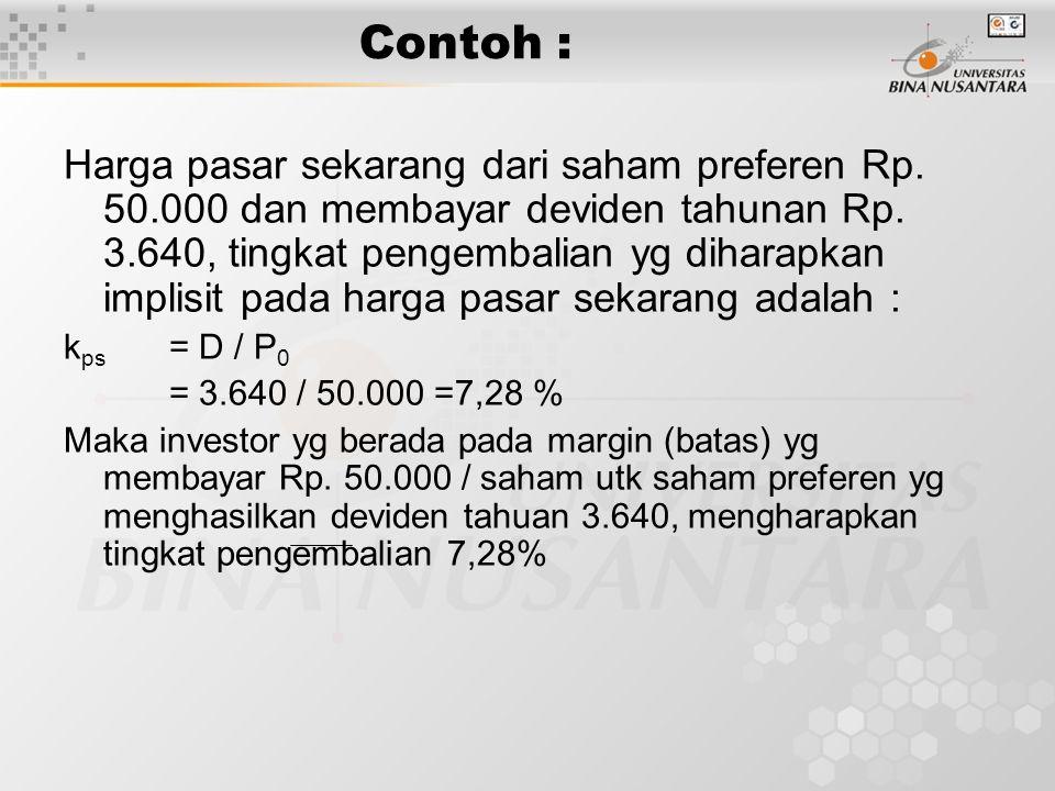 Contoh : Harga pasar sekarang dari saham preferen Rp. 50.000 dan membayar deviden tahunan Rp. 3.640, tingkat pengembalian yg diharapkan implisit pada