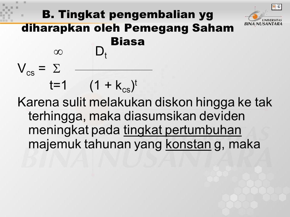 B. Tingkat pengembalian yg diharapkan oleh Pemegang Saham Biasa  D t V cs =  t=1 (1 + k cs ) t Karena sulit melakukan diskon hingga ke tak terhingga