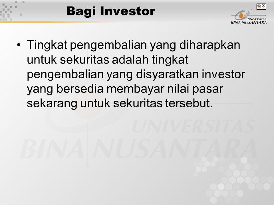 Bagi Investor Tingkat pengembalian yang diharapkan untuk sekuritas adalah tingkat pengembalian yang disyaratkan investor yang bersedia membayar nilai
