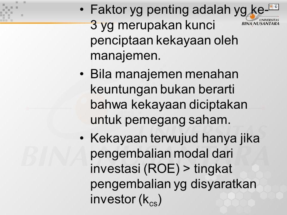 Faktor yg penting adalah yg ke- 3 yg merupakan kunci penciptaan kekayaan oleh manajemen. Bila manajemen menahan keuntungan bukan berarti bahwa kekayaa