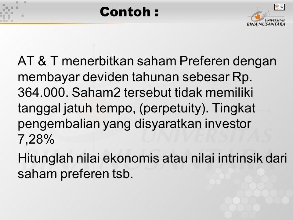 Contoh : AT & T menerbitkan saham Preferen dengan membayar deviden tahunan sebesar Rp. 364.000. Saham2 tersebut tidak memiliki tanggal jatuh tempo, (p