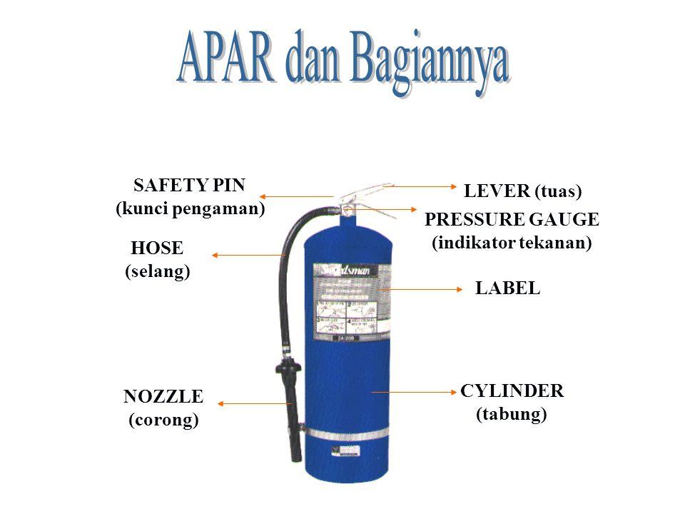 LEVER (tuas) NOZZLE (corong) LABEL PRESSURE GAUGE (indikator tekanan) HOSE (selang) CYLINDER (tabung) SAFETY PIN (kunci pengaman)