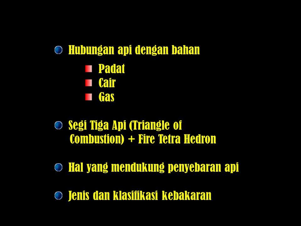 Hubungan api dengan bahan Padat Cair Gas Segi Tiga Api (Triangle of Combustion) + Fire Tetra Hedron Hal yang mendukung penyebaran api Jenis dan klasif