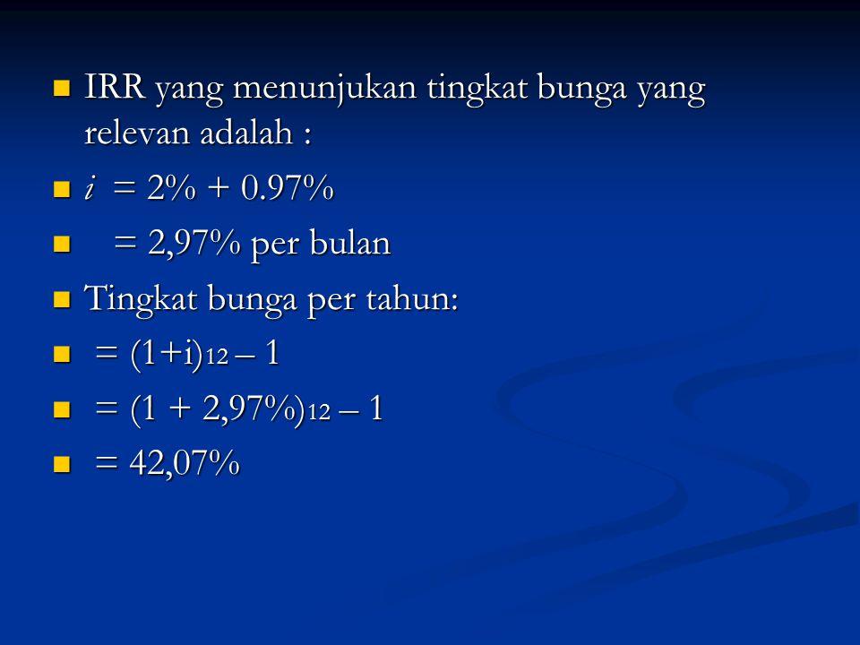 IRR yang menunjukan tingkat bunga yang relevan adalah : IRR yang menunjukan tingkat bunga yang relevan adalah : i = 2% + 0.97% i = 2% + 0.97% = 2,97%
