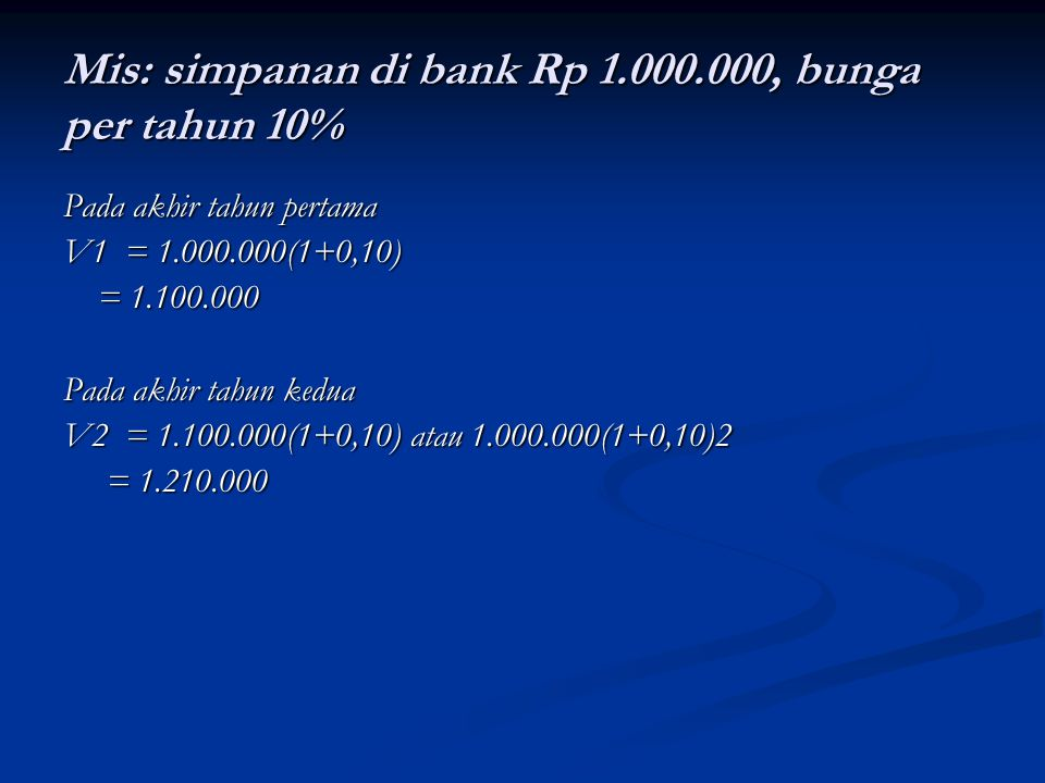 Mis: simpanan di bank Rp 1.000.000, bunga per tahun 10% Pada akhir tahun pertama V1 = 1.000.000(1+0,10) = 1.100.000 = 1.100.000 Pada akhir tahun kedua