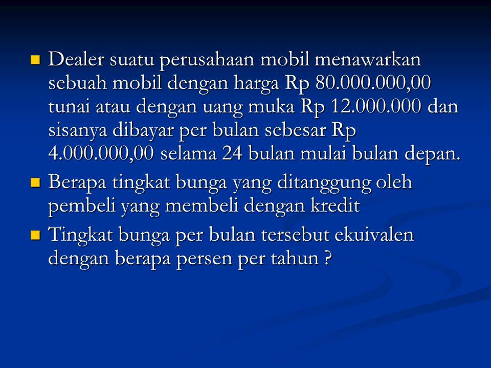 Jumlah yang masih harus dibayar selama 24 bulan adalah : Jumlah yang masih harus dibayar selama 24 bulan adalah : Harga Mobil Rp 80.000.000 Harga Mobil Rp 80.000.000 Uang Muka 12.000.000 Uang Muka 12.000.000 Rp 68.000.000 Rp 68.000.000 PV Kas Masuk = PV Kas Keluar PV Kas Masuk = PV Kas Keluar 68 = 4{1/(1+i) +1/(1+i) 2 +….1/(1+i) 24 } 68 = 4{1/(1+i) +1/(1+i) 2 +….1/(1+i) 24 } 17 = {1/(1+i) +1/(1+i) 2 +….1/(1+i) 24 } 17 = {1/(1+i) +1/(1+i) 2 +….1/(1+i) 24 } Lihat Tabel PV annuity angka 17 dengan n=24 terletak diantara tingkat bunga 2% dan 3%.
