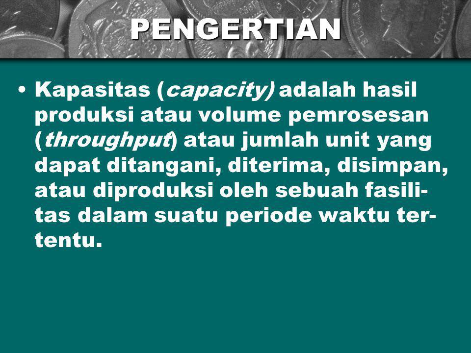 PENGERTIAN Kapasitas (capacity) adalah hasil produksi atau volume pemrosesan (throughput) atau jumlah unit yang dapat ditangani, diterima, disimpan, a