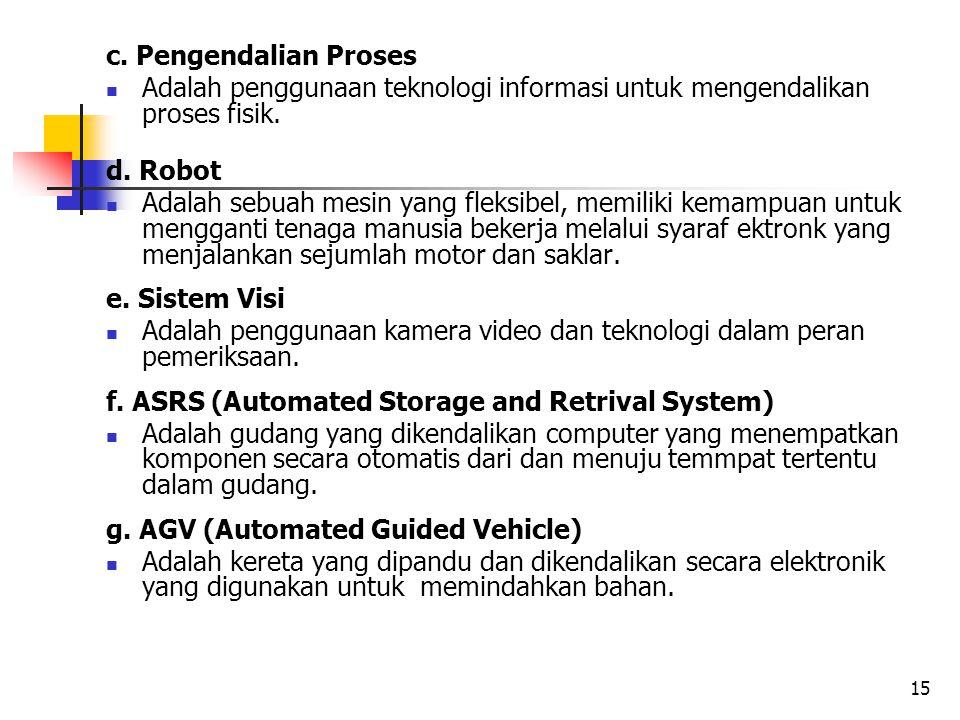 c. Pengendalian Proses Adalah penggunaan teknologi informasi untuk mengendalikan proses fisik. d. Robot Adalah sebuah mesin yang fleksibel, memiliki k