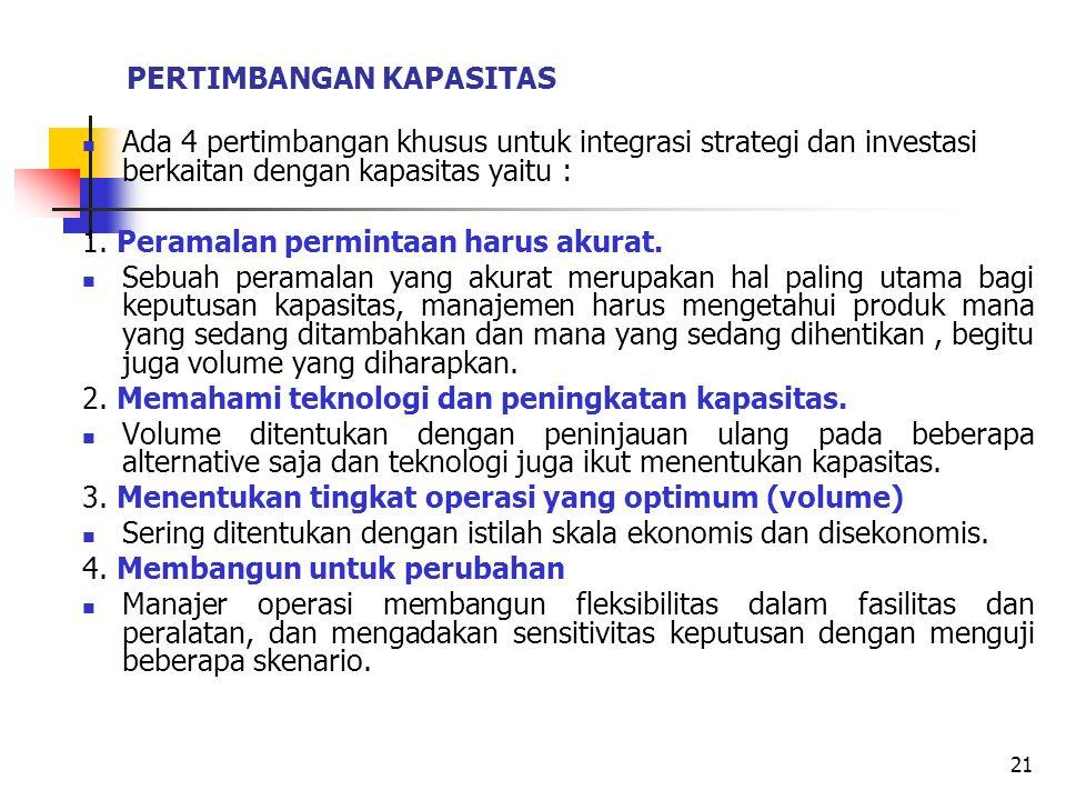 PERTIMBANGAN KAPASITAS Ada 4 pertimbangan khusus untuk integrasi strategi dan investasi berkaitan dengan kapasitas yaitu : 1. Peramalan permintaan har