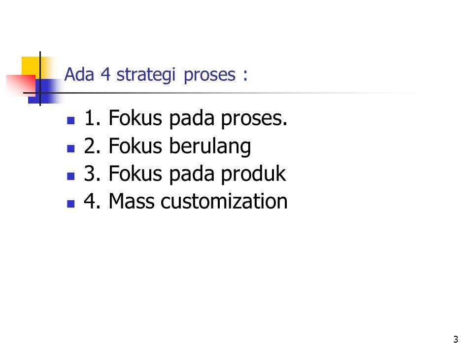 Ada 4 strategi proses : 1. Fokus pada proses. 2. Fokus berulang 3. Fokus pada produk 4. Mass customization 3