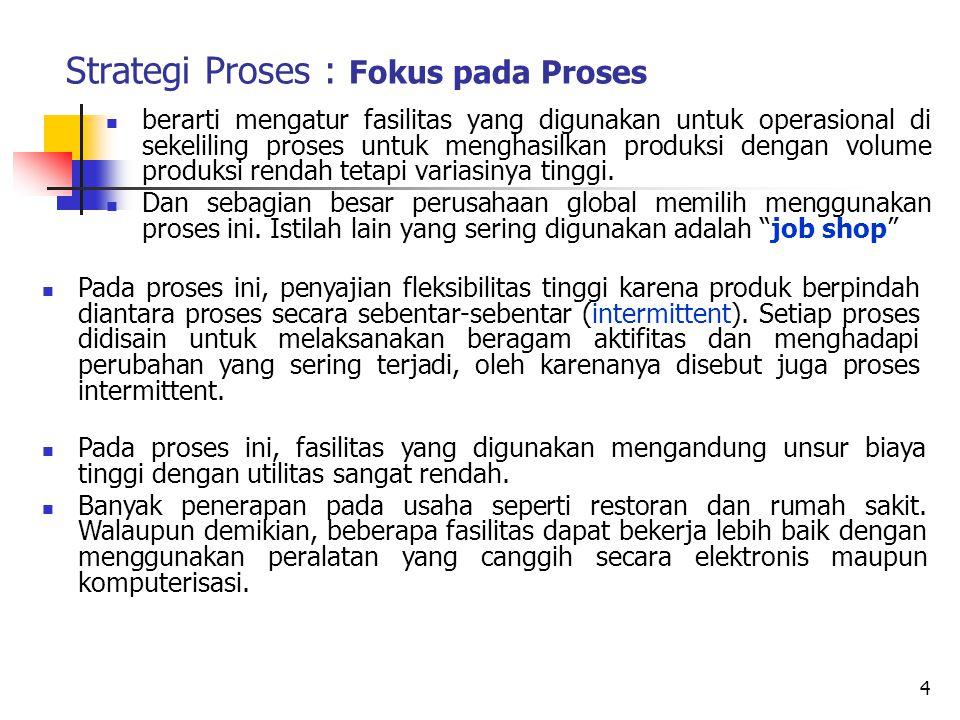 Strategi Proses : Fokus pada Proses berarti mengatur fasilitas yang digunakan untuk operasional di sekeliling proses untuk menghasilkan produksi denga