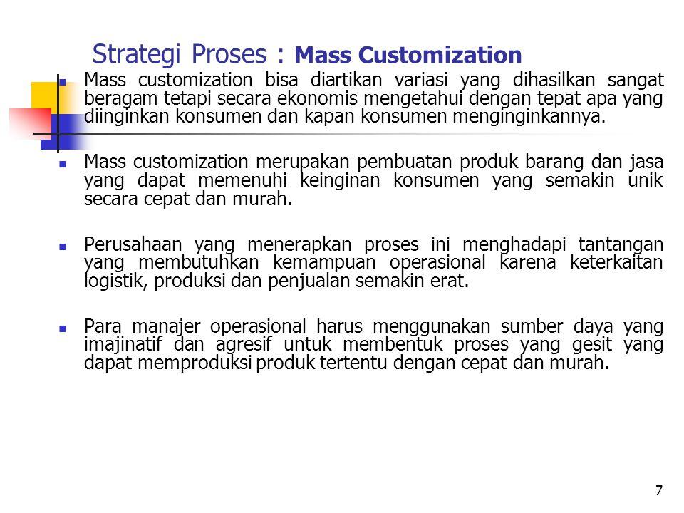 Strategi Proses : Mass Customization Mass customization bisa diartikan variasi yang dihasilkan sangat beragam tetapi secara ekonomis mengetahui dengan