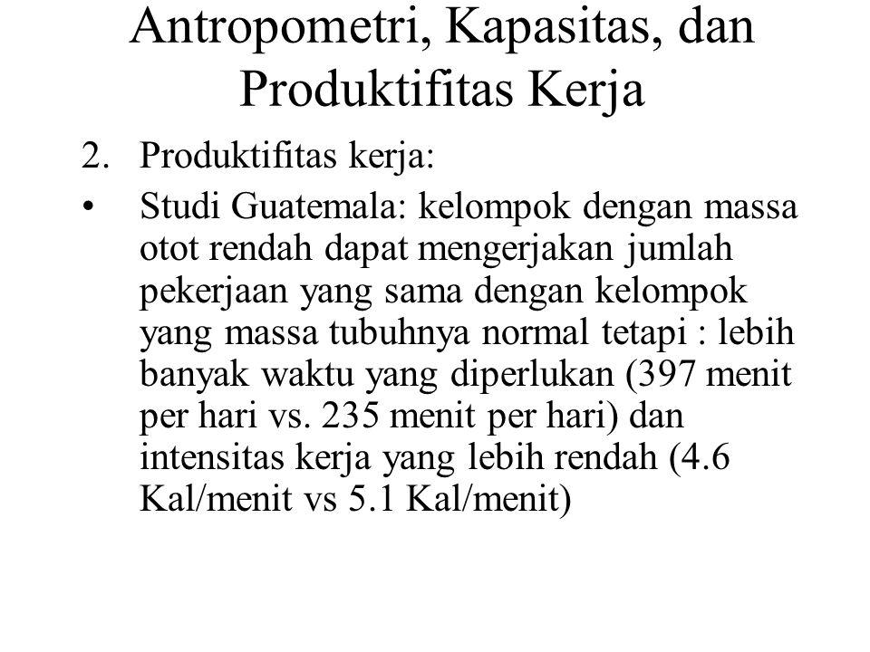 Antropometri, Kapasitas, dan Produktifitas Kerja 2.Produktifitas kerja: Studi Guatemala: kelompok dengan massa otot rendah dapat mengerjakan jumlah pe