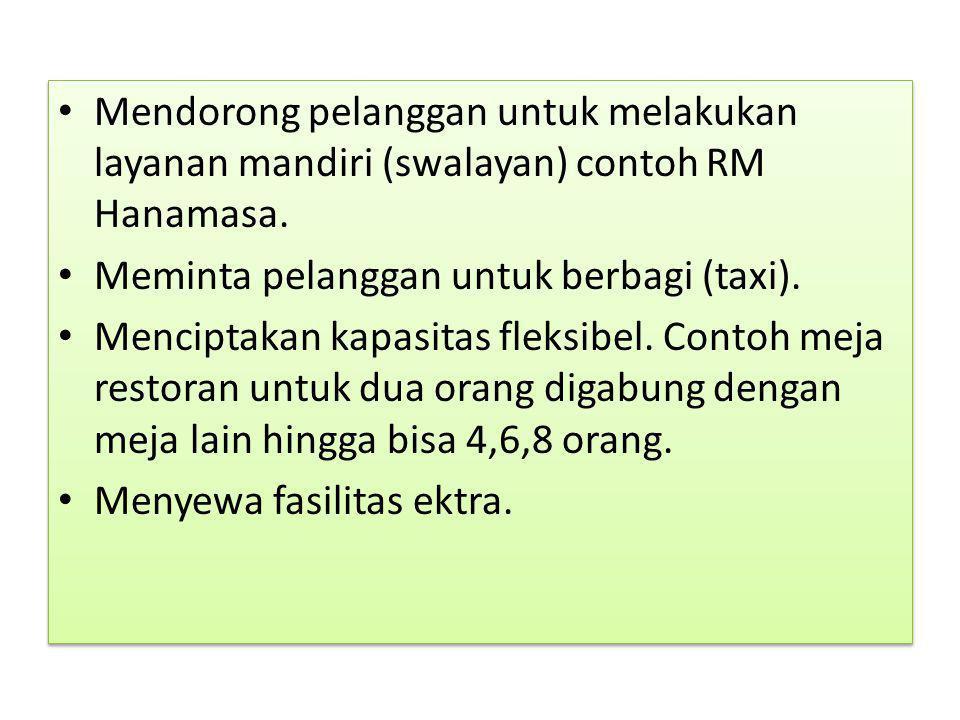 Mendorong pelanggan untuk melakukan layanan mandiri (swalayan) contoh RM Hanamasa.