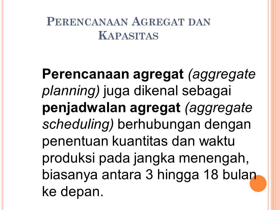 P ERENCANAAN A GREGAT DAN K APASITAS Perencanaan agregat (aggregate planning) juga dikenal sebagai penjadwalan agregat (aggregate scheduling) berhubun