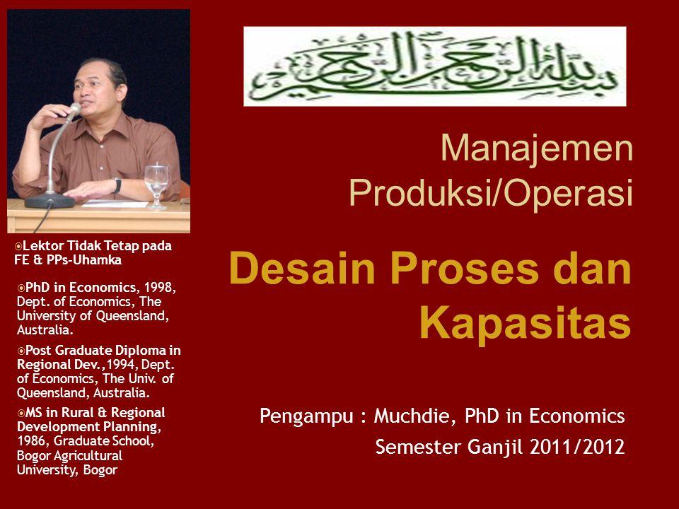 Manajemen Produksi/Operasi Pengampu : Muchdie, PhD in Economics Semester Ganjil 2011/2012  PhD in Economics, 1998, Dept.