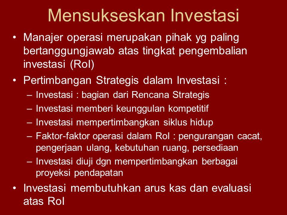 Mensukseskan Investasi Manajer operasi merupakan pihak yg paling bertanggungjawab atas tingkat pengembalian investasi (RoI) Pertimbangan Strategis dalam Investasi : –Investasi : bagian dari Rencana Strategis –Investasi memberi keunggulan kompetitif –Investasi mempertimbangkan siklus hidup –Faktor-faktor operasi dalam RoI : pengurangan cacat, pengerjaan ulang, kebutuhan ruang, persediaan –Investasi diuji dgn mempertimbangkan berbagai proyeksi pendapatan Investasi membutuhkan arus kas dan evaluasi atas RoI
