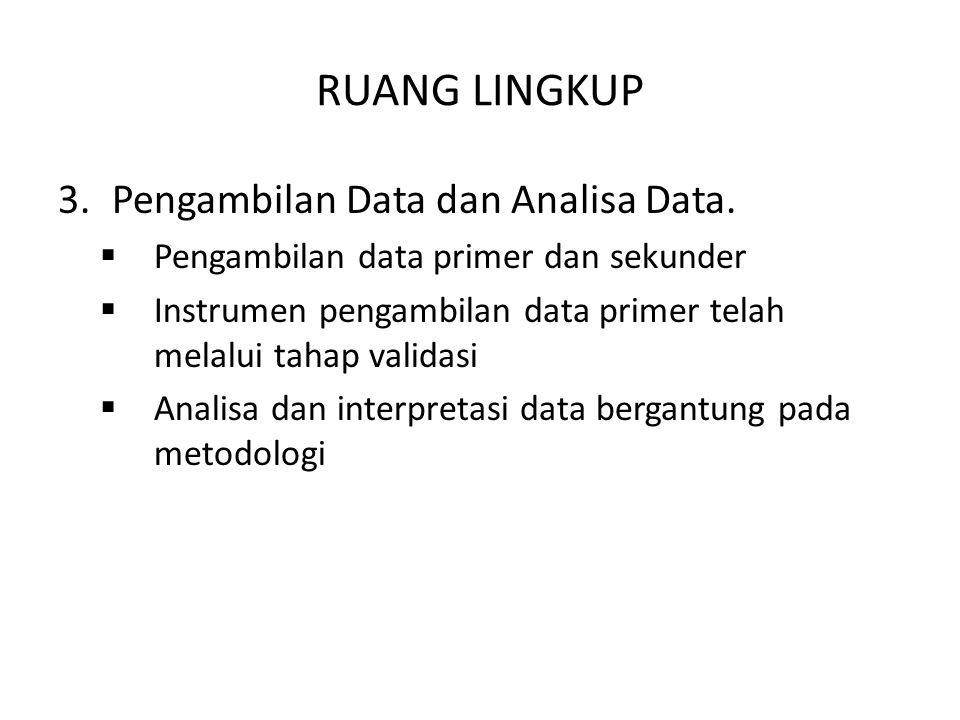 RUANG LINGKUP 3.Pengambilan Data dan Analisa Data.