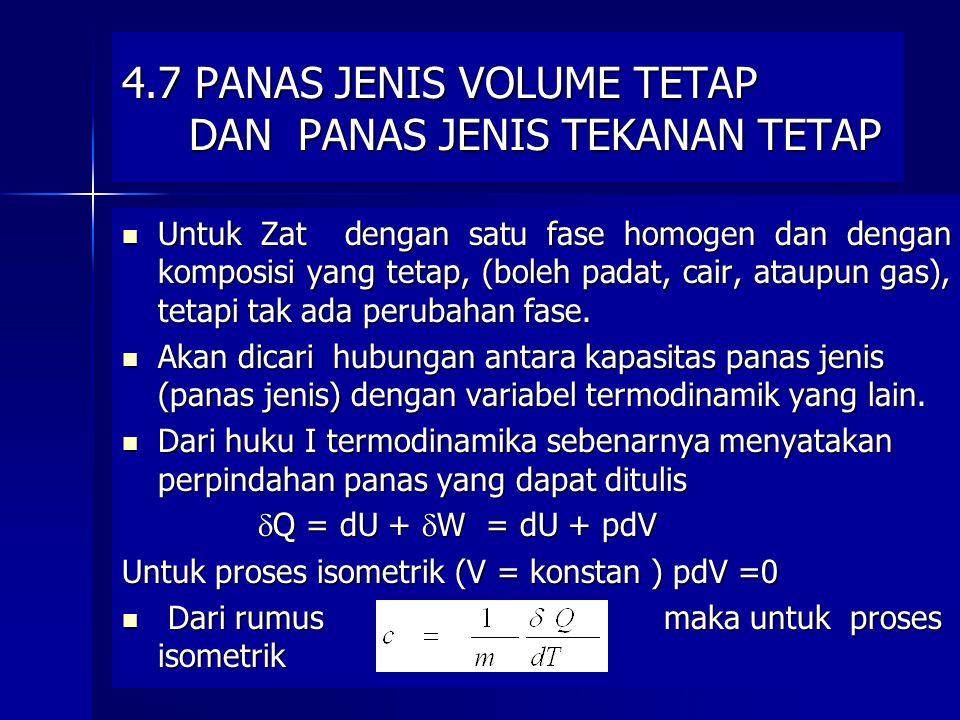 15 4.7 PANAS JENIS VOLUME TETAP DAN PANAS JENIS TEKANAN TETAP Untuk Zat dengan satu fase homogen dan dengan komposisi yang tetap, (boleh padat, cair,