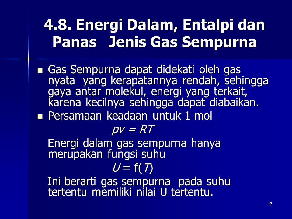 17 4.8. Energi Dalam, Entalpi dan Panas Jenis Gas Sempurna Gas Sempurna dapat didekati oleh gas nyata yang kerapatannya rendah, sehingga gaya antar mo