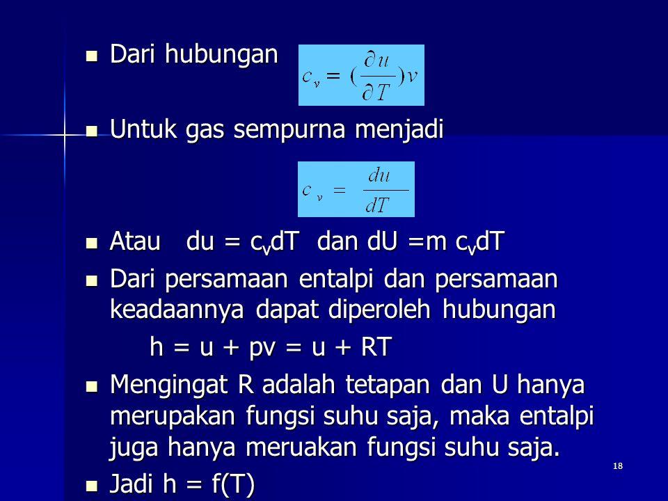 18 Dari hubungan Dari hubungan Untuk gas sempurna menjadi Untuk gas sempurna menjadi Atau du = c v dT dan dU =m c v dT Atau du = c v dT dan dU =m c v