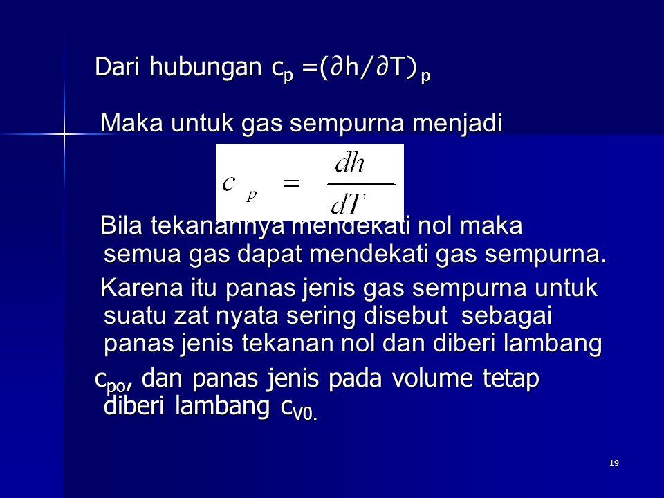 19 Dari hubungan c p =( ∂h/∂T) p Dari hubungan c p =( ∂h/∂T) p Maka untuk gas sempurna menjadi Maka untuk gas sempurna menjadi Bila tekanannya mendeka
