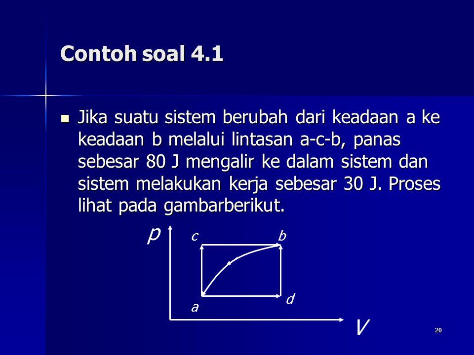 20 Contoh soal 4.1 Jika suatu sistem berubah dari keadaan a ke keadaan b melalui lintasan a-c-b, panas sebesar 80 J mengalir ke dalam sistem dan siste