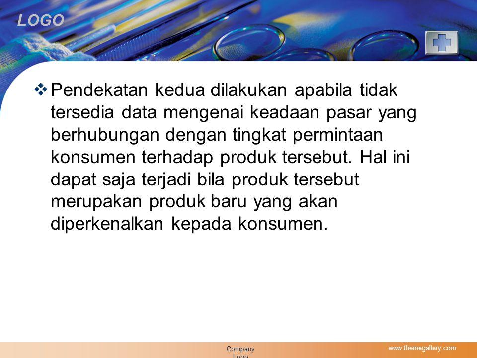 LOGO  Pendekatan kedua dilakukan apabila tidak tersedia data mengenai keadaan pasar yang berhubungan dengan tingkat permintaan konsumen terhadap produk tersebut.