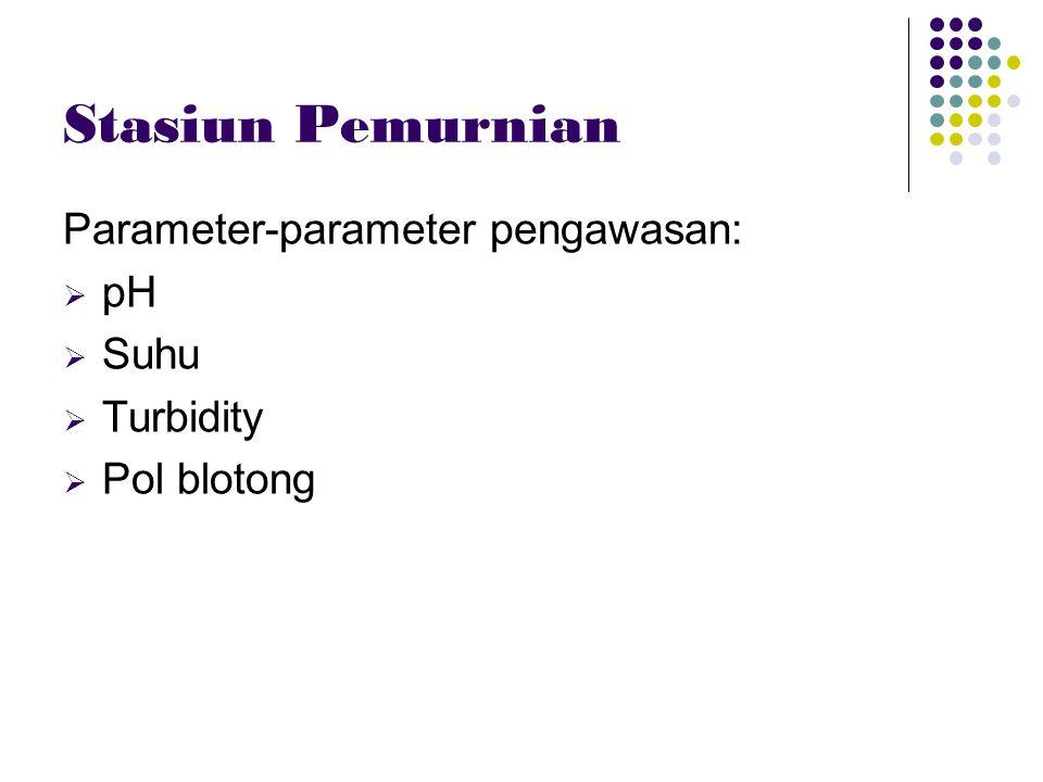 Stasiun Pemurnian Parameter-parameter pengawasan:  pH  Suhu  Turbidity  Pol blotong