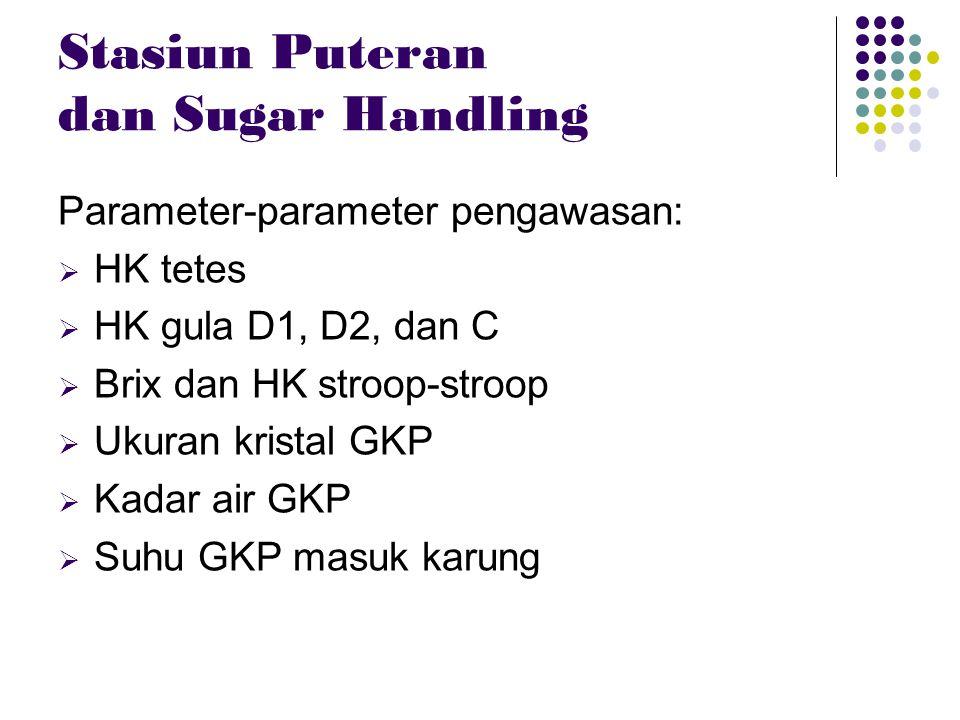 Stasiun Puteran dan Sugar Handling Parameter-parameter pengawasan:  HK tetes  HK gula D1, D2, dan C  Brix dan HK stroop-stroop  Ukuran kristal GKP
