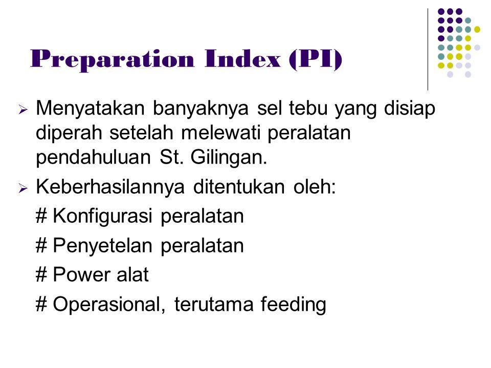 Preparation Index (PI)  Menyatakan banyaknya sel tebu yang disiap diperah setelah melewati peralatan pendahuluan St. Gilingan.  Keberhasilannya dite