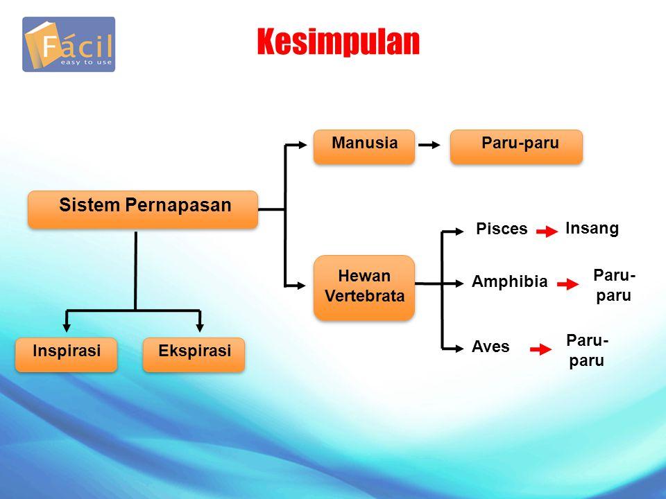 Kesimpulan InspirasiEkspirasi ManusiaParu-paru Pisces Insang Hewan Vertebrata Amphibia Paru- paru Sistem Pernapasan Aves Paru- paru