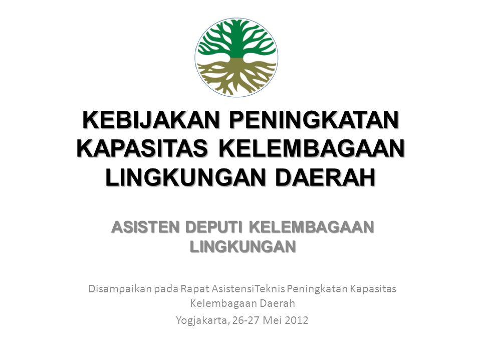 KEBIJAKAN PENINGKATAN KAPASITAS KELEMBAGAAN LINGKUNGAN DAERAH ASISTEN DEPUTI KELEMBAGAAN LINGKUNGAN Disampaikan pada Rapat AsistensiTeknis Peningkatan Kapasitas Kelembagaan Daerah Yogjakarta, 26-27 Mei 2012