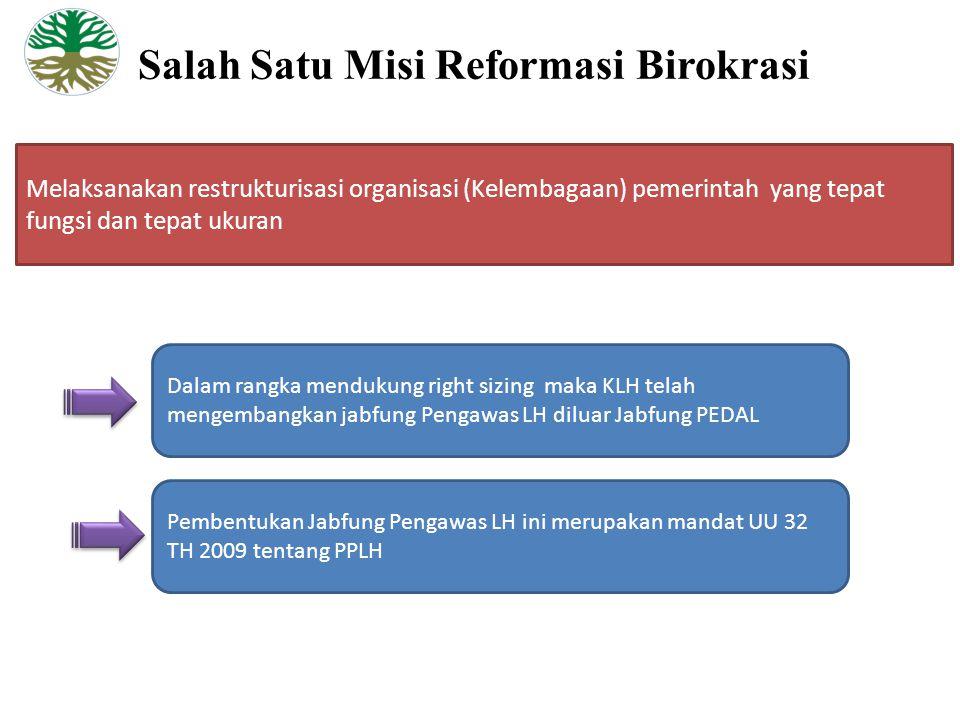 Salah Satu Misi Reformasi Birokrasi Melaksanakan restrukturisasi organisasi (Kelembagaan) pemerintah yang tepat fungsi dan tepat ukuran Dalam rangka mendukung right sizing maka KLH telah mengembangkan jabfung Pengawas LH diluar Jabfung PEDAL Pembentukan Jabfung Pengawas LH ini merupakan mandat UU 32 TH 2009 tentang PPLH